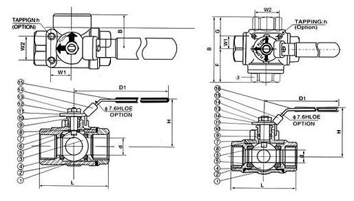 q15f三通球阀结构图